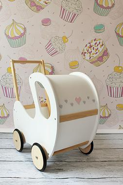 DREWNIANY wózeczek dla lalek, pchacz biały z drewnem, POLSKI HANDMADE