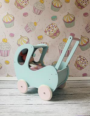 DREWNIANY wózeczek dla lalek, pchacz miętowy, POLSKI HANDMADE
