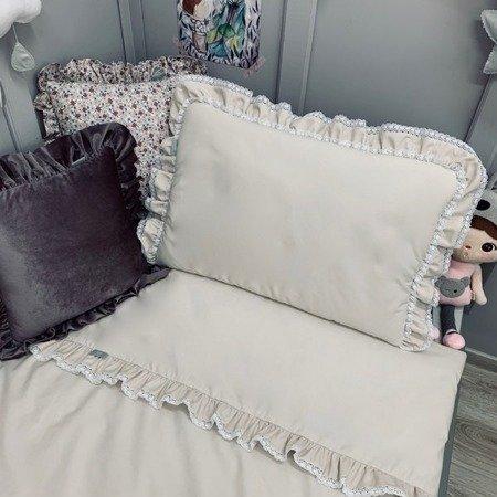 Dolly Bawełniany komplet pościeli z koronką i wypełnieniem beżowy 90/120 cm