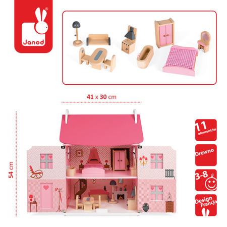 Drewniany domek dla lalek z mebelkami Janod