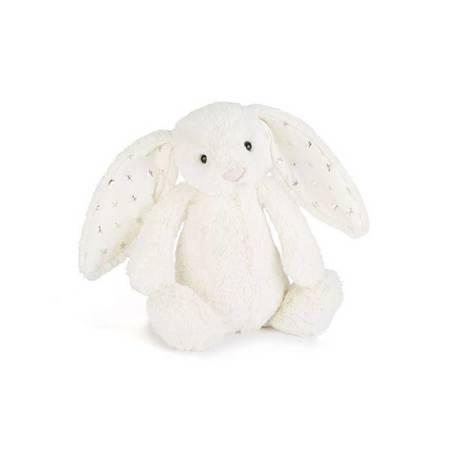 Jellycat Przytulanka króliczek biały z uszami w gwiazdki 18cm