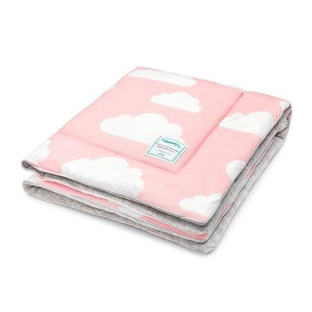 Kocyk ocieplany Chmurki Pink&Grey