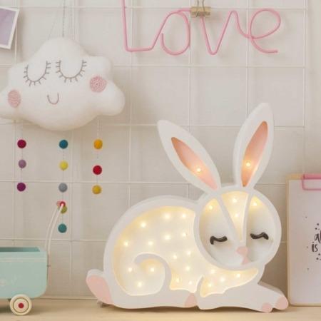 Lampka drewniana z funkcją ściemniania Little Lights Króliczek Biały Polski HandMade