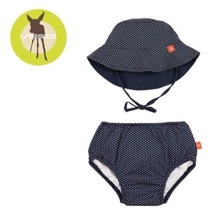 Lassig Zestaw kapelusz i majteczki do pływania z wkładką chłonną Polka Dots navy UV 50+ 12 m-cy