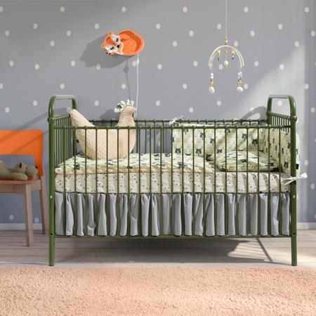 Łóżeczko metalowe dziecięce Mono 70/140 zielone
