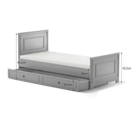 Łóżko młodzieżowe 90x200 z szufladą Bellamy Ines Grey