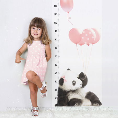 Miarka wzrostu Panda z różowymi balonami, Dekornik