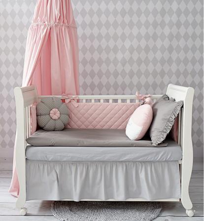 Ochraniacz do łóżeczka pikowany różowy, Dolly