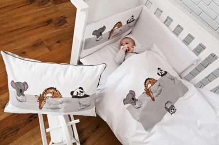 Ochraniacz na połowę łóżeczka, śpiące zwierzątka 30x210cm