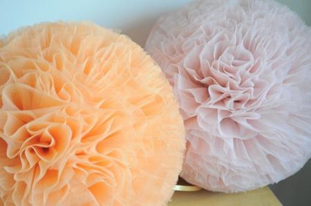 Pompon tiulowy Brzoskwiniowy 20 cm, handmade