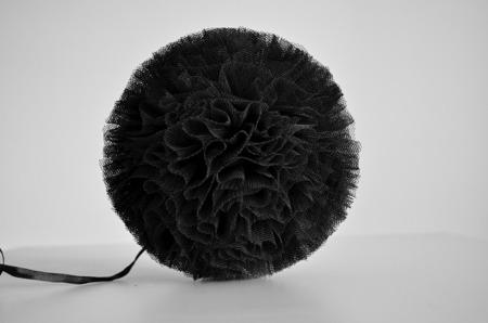 Pompon tiulowy Czarny 30 cm, handmade