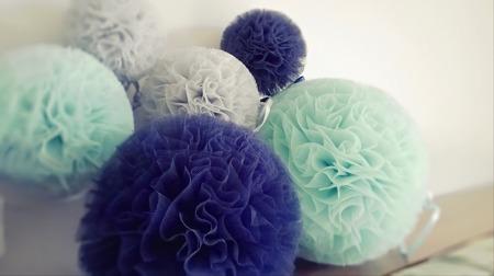 Pompon tiulowy Granatowy 20 cm, handmade