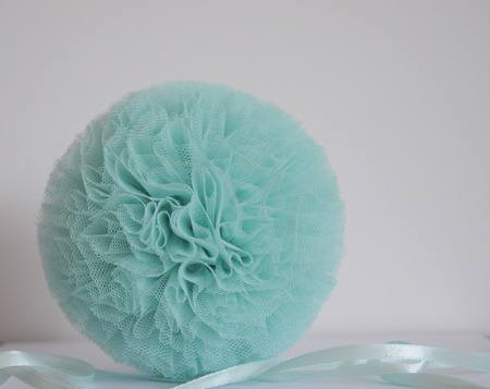 Pompon tiulowy Miętowy 20 cm, handmade