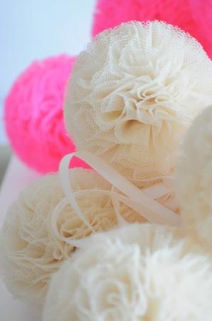 Pompon tiulowy Różowy 10 cm, handmade