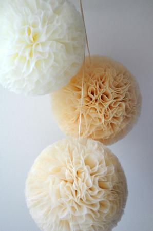 Pompon tiulowy Złoty 30 cm, handmade