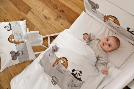 Pościel do łóżeczka 3-elementowa, śpiące zwierzątka 120x90cm