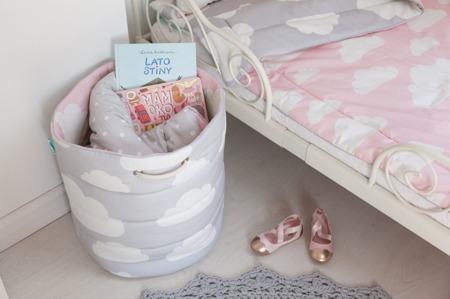 Pościel dziecięca 140/200cm Chmurki Pink&Grey