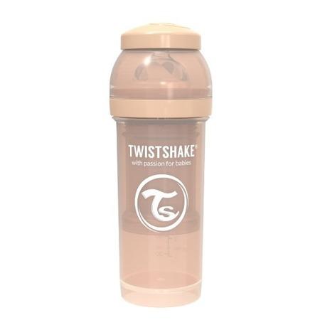Twistshake Antykolkowa butelka do karmienia 260ml beżowa