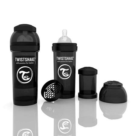 Twistshake Antykolkowa butelka do karmienia 260ml czarna