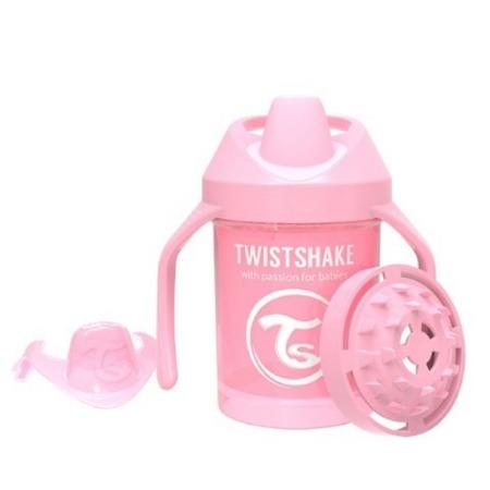 Twistshake  Kubek niekapek z uchwytami i mikserem do owoców 230 ml pastelowy różowy