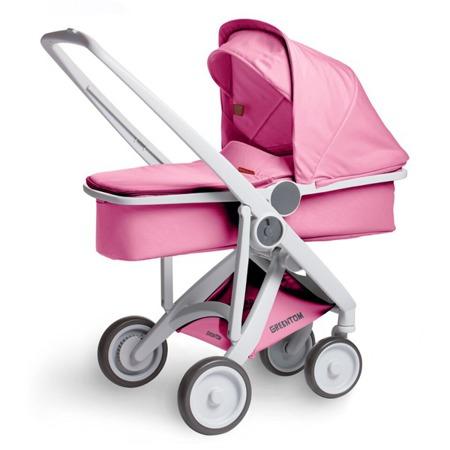Wózek głeboki Greentom CARRYCOT eko szaro-różowy, 10 kolorów